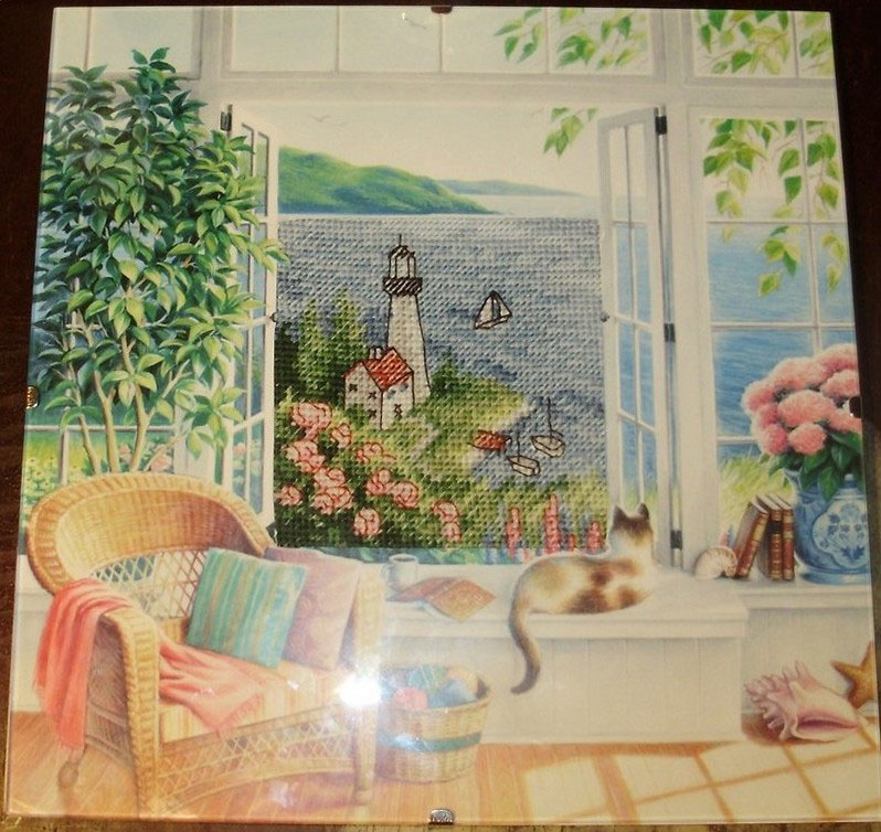 Вышивка окно на море 519